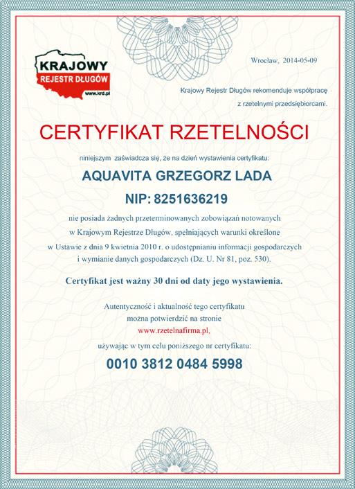 Certyfikat Rzetelności - Krajowy Rejestr Długów