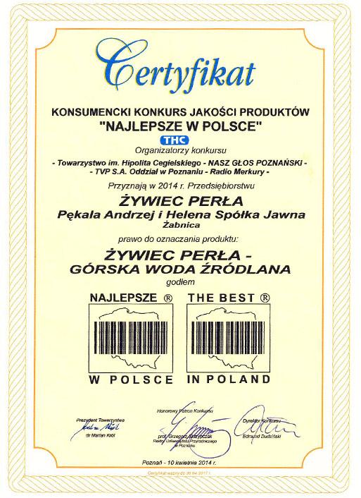 Certyfikat Konsumencki Konkurs Jakości Produktów