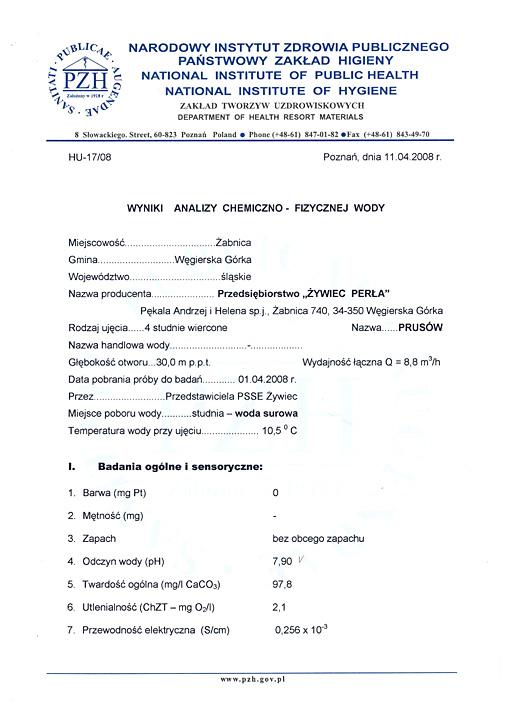 Certyfikat Państwowego Zakładu Higieny