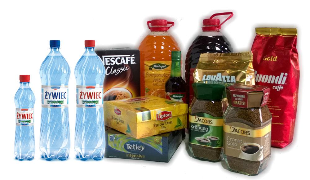 Woda jurajska w butelkach, herbata i kawa